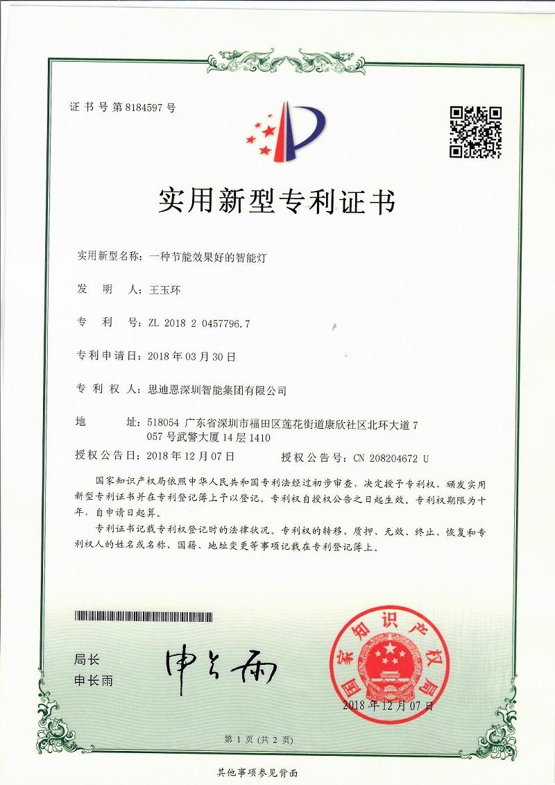 思迪恩夜景亮化照明设计工程商专利证书2018204577967