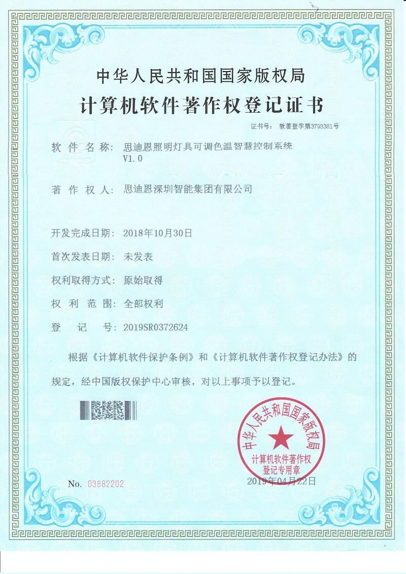 思迪恩夜游亮化照明设计工程商软著证书2019SR0372624