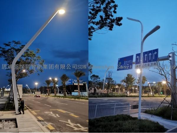 深圳宝安新会展中心附近出新造型智慧路灯了